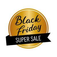 black friday sale lettering in golden circular stamp and ribbon