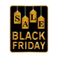 black friday sale lettering in square frame and golden letters hanging
