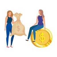 mujeres jóvenes con monedas y dólares de saco de dinero