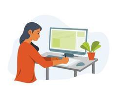 mujer autónoma en línea que trabaja con la computadora.