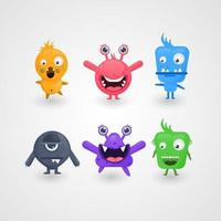 cute cartoon monsters design collection vector