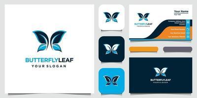 elegante logotipo de hoja y símbolo de mariposa con estilo artístico y tarjeta de visita