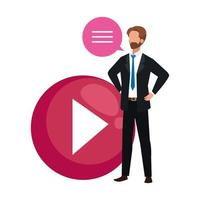 elegant business man with media player button vector