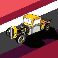 illustration of a retro car