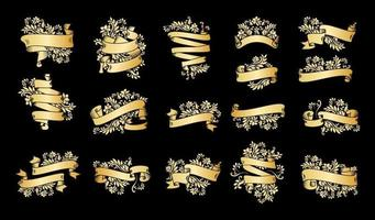 Gold Vintage Ribbon Banners on Black vector
