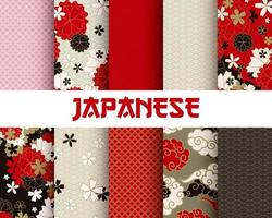 Japanese Classic Sakura Traditional Seamless Patterns Set vector