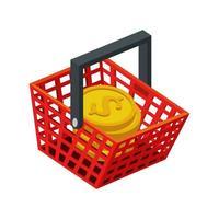 Cesta de compras con pila de monedas icono aislado