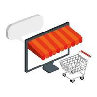 carrito de compras y computadora con sombrilla