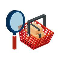 cesta de compras con lupa y paquetes de cajas