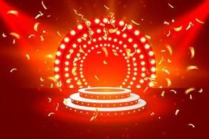 Jackpot casino podium golden coins banner vector
