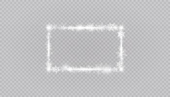 Rectangular winter snow frame border with stars, sparkles and snowflakes
