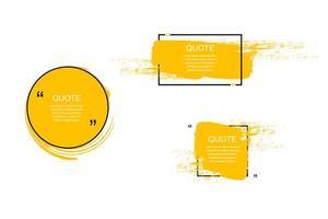 marco de cuadro de cotización, conjunto grande. icono de cuadro de cotización. cuadros de cotización de mensajes de texto. Fondo de pincel grunge en blanco. ilustración vectorial vector
