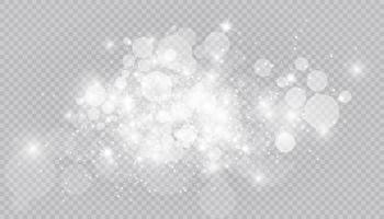 efecto de luz brillante con muchas partículas de brillo aisladas