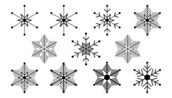 Vector big set of black Snowflake design elements on white background. Different designs.
