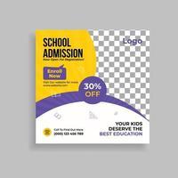 School Admission Promotion Social Media Post Template Design vector