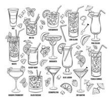 Summer Alcoholic Cocktails Vector Engraving Set. Hand Drawn Beverages or Drinks.