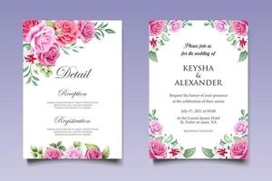 hermoso dibujo a mano plantilla de invitación de boda floral