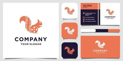 Fox logo design template and business card vector
