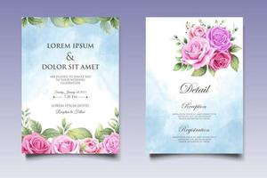 Hand Drawing Floral Wedding Invitation Card