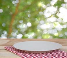 Plate on cloth outside photo
