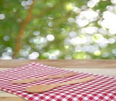 Wood utensils on cloth photo