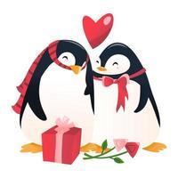 Super Cute Cartoon Penguin Couple In Love. vector