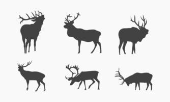 Ilustración vectorial de colección de siluetas de ciervos de animales