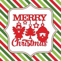 Merry Christmas Cute Symbols Stripe Background