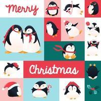 decoración de mosaico de pingüinos de vacaciones de dibujos animados super