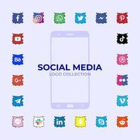 Social media logotype collection vector