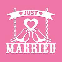 Just Married Love Birds Paper Cut