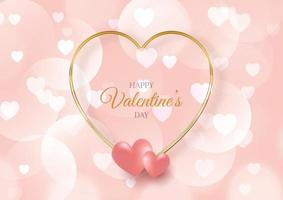 Valentines day background with hearts and bokeh lights