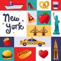 Super Cute New York Culture Mosaic Decoration vector