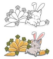 Bunny cat and carrots cartoon coloring page for kids