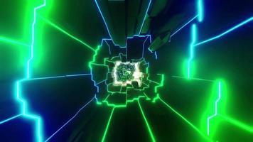 túnel de estrutura de arame com mudança de cor de luzes