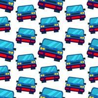 Ilustración de patrones sin fisuras de coche de ciudad azul vector