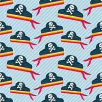 Ilustración de patrones sin fisuras de sombrero pirata vector