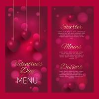 elegante diseño de menú del día de san valentín