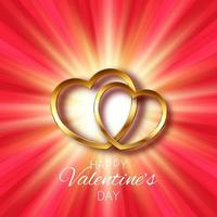 Valentines day background with gold hearts design vector
