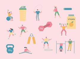 People are exercising. vector
