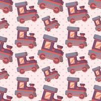 Ilustración de patrones sin fisuras de tren de juguete vector