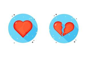a whole heart and a broken heart icon vector