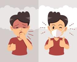 Man coughing and wearing protective face mask against smoke on background vector