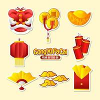 Collection Sticker Gong Xi Fa Cai vector