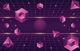 Retro Futurism Background with Geometric 3D Elements