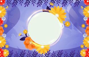 Floral Shining Round Frame Background vector