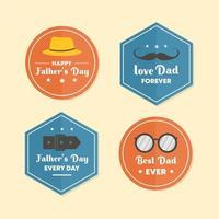 bandera del día del padre establece el emblema, estilo vintage papá feliz del elemento del vector.