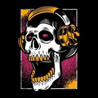 cráneo dibujado a mano escuchando música en auriculares. vector
