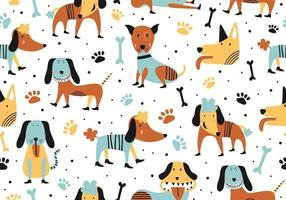 Animal seamless cartoon illustration with childish cute dogs.