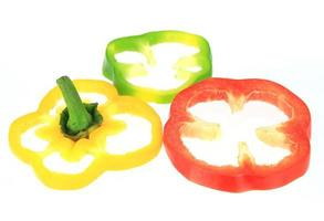 Three sliced bell peppers